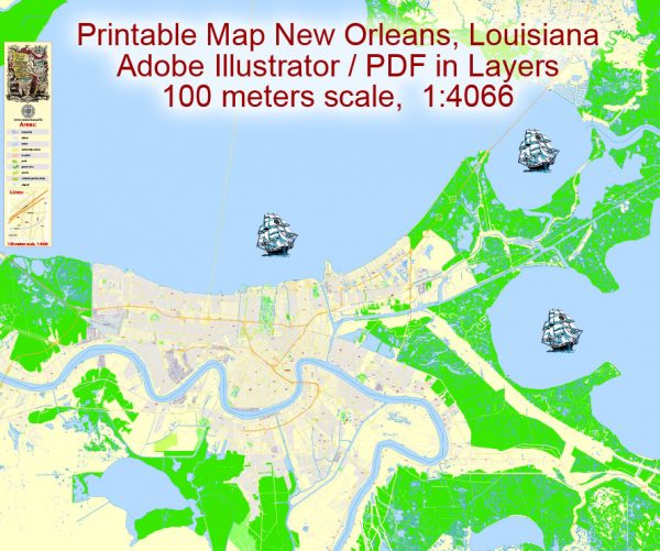 Map New Orleans, Louisiana, exact vector detailed City Plan Adobe Illustrator