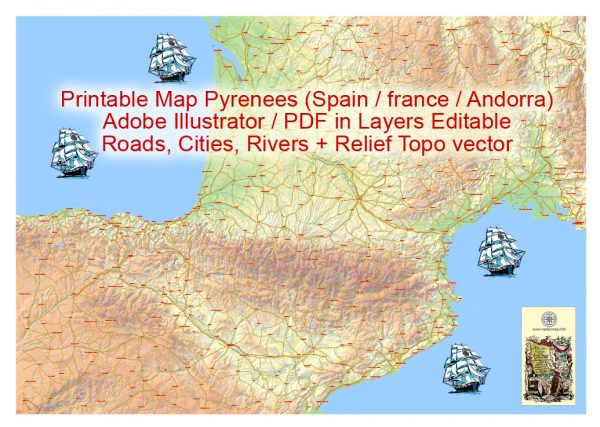 Editable Vector Map Pyrenees Area, Relief, Roads and Waterways map Printable Adobe Illustrator