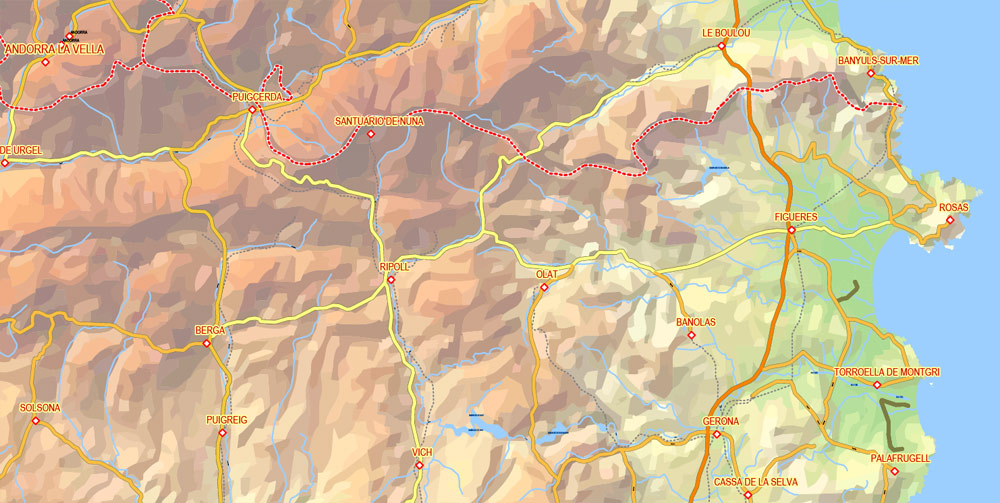 Editable PDF Vector Map Pyrenees Area, Relief, Roads and Waterways map Printable Adobe PDF, scalable, editable text format of names, 33 Mb ZIP.
