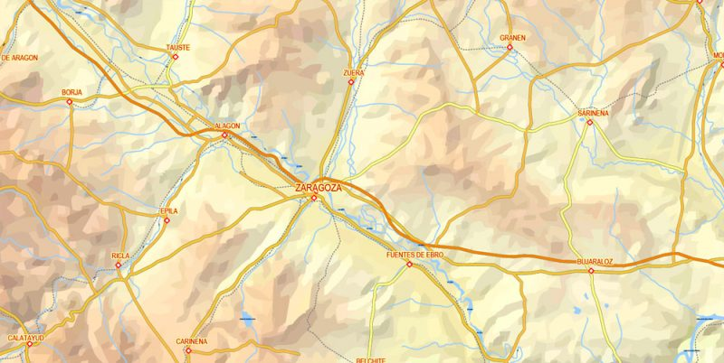 Editable VectorMap Pyrenees Area, Relief, Roads and Waterways map Printable Adobe Illustrator