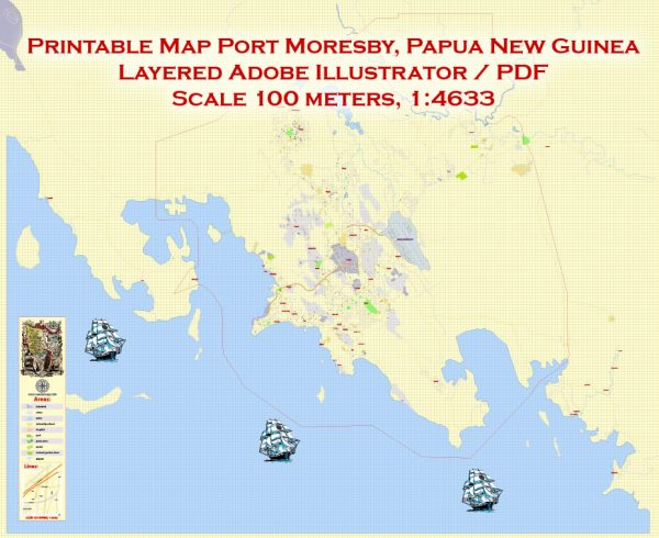 Printable Map Port Moresby, Papua New Guinea,exact vector City Plan Mapstreet 100 meters scale 1:4633, full editable, Adobe Illustrator, full vector, scalable, editable text format street names,7 mbZIP