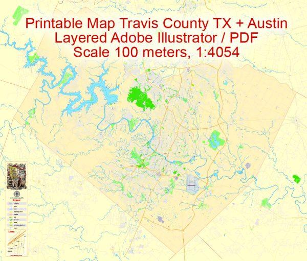Map Travis County + Austin, TexasUS, Adobe Illustrator Editable Printable exact detailed vector Map Scale 100 meters