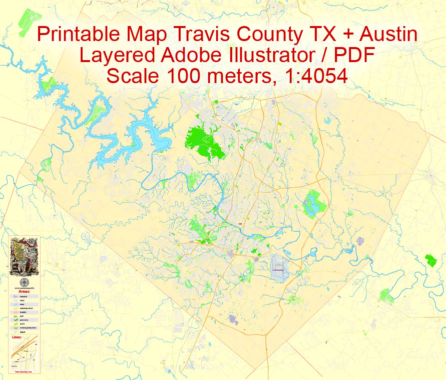 Street map Travis County Austin Texas