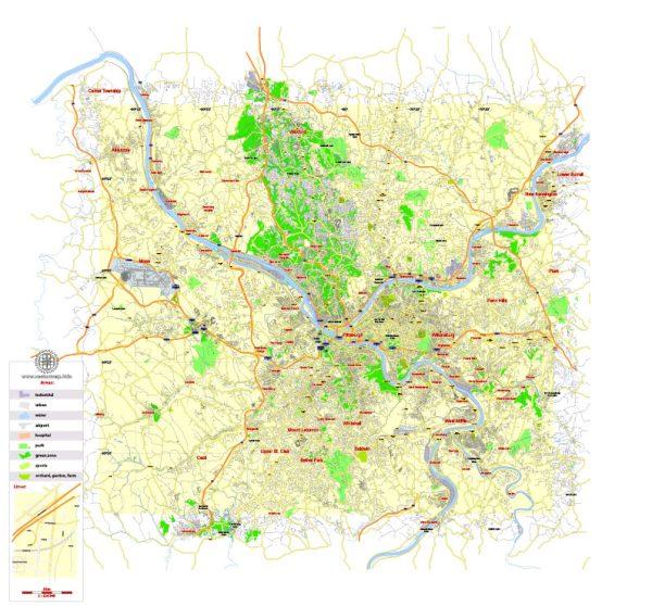 Printable Map Pittsburgh Metro Area, Pennsylvania, US, exact vector City Plan scale 5000 meters, full editable, Adobe Illustrator,scalable, 5mbZIP