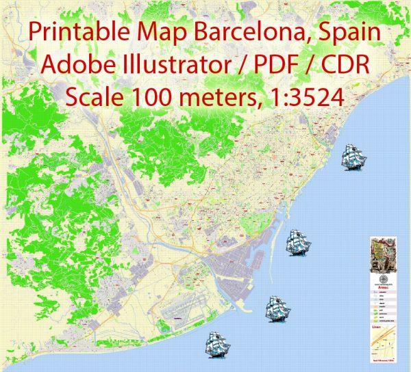 Barcelona Map Spain, Printable Vectorexact detailed City Plan scale map1x3524, editable Layered Adobe Illustrator Street Map