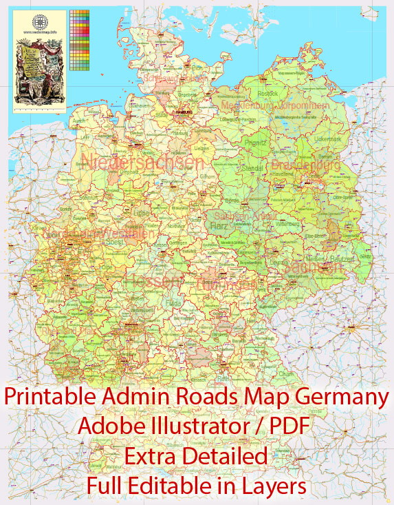 Printable Editable Map Germany Administrative Divisions - Provinces, Districts, Roads, Cities, Airports, Railroads Adobe Illustrator,  scalable, editable text format  names, 26 Mb ZIP.