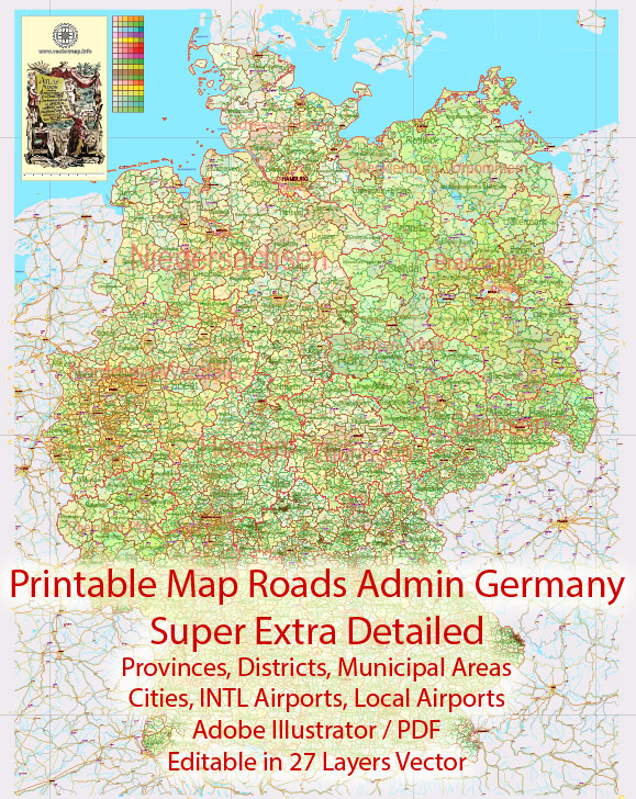 Printable Editable Map Germany Full Administrative Divisions - States, Districts, Municipal Areas, + Roads, Cities, Airports, Railroads Adobe Illustrator, scalable, editable text format names, 49MbZIP.