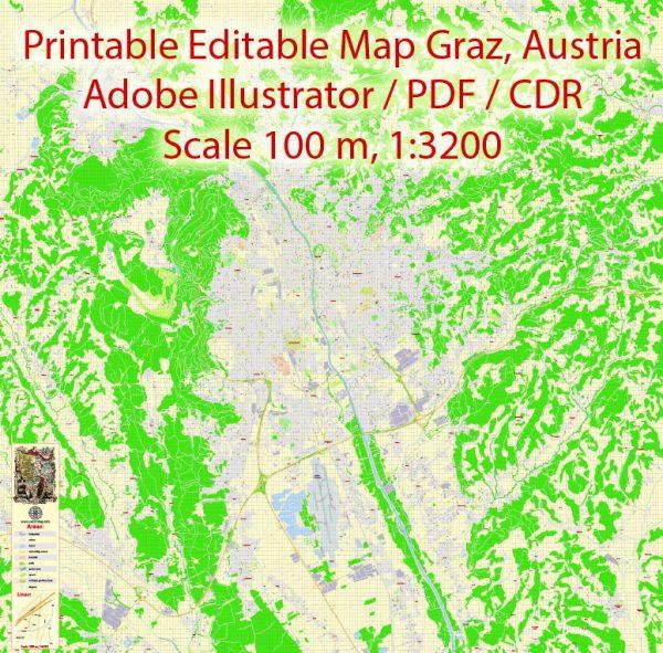 Graz Vector Map, Austria, Printable exact detailed City Plan, 100meters scale map 1:3125, editable Layered Adobe Illustrator Street Map