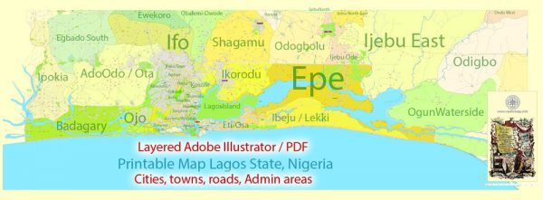 Editable Printable Map Lagos State Admin Roads Cities and Towns, Nigeria, exact detailed vector Map, Adobe Illustrator, scalable, editable text format  names, 14 mb ZIP