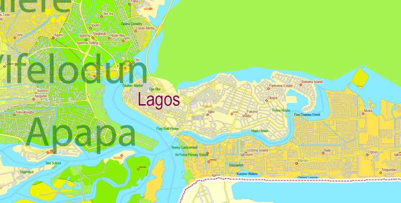 Editable Printable Map Lagos State Admin Roads Cities and Towns, Nigeria,exact detailed vector Map, Adobe Illustrator, scalable, editable text format names, 14 mbZIP