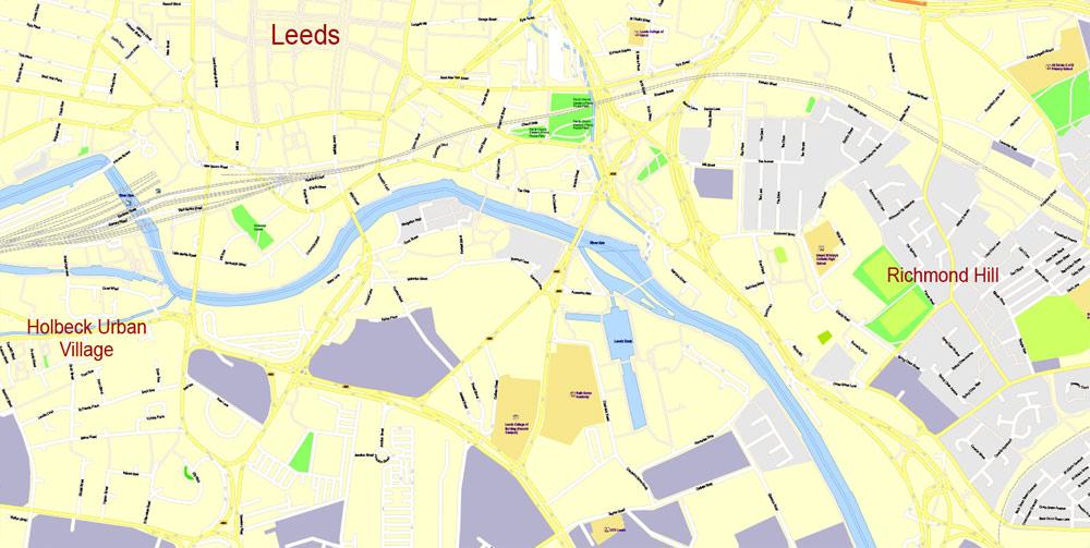City map Leeds Bradford UK