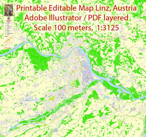 Printable VectorMap Linz, Austria, exact detailed City Plan, 100meters scale map 1:3125, editable Layered Adobe Illustrator, 21MbZIP