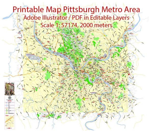 Printable Map Pittsburgh Metro Area, Pennsylvania, US, exact vector City Plan scale 1:57174, full editable, Adobe Illustrator,scalable, editable, text format street names, 12mbZIP