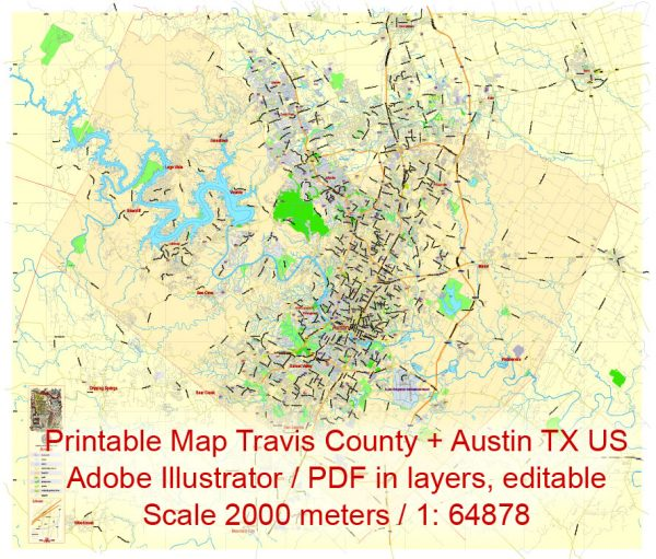 Editable Printable Map Travis County + Austin, Texas US,exact detailed vector Map Scale 100 meters, 1:64878, Adobe Illustrator, scalable, editable text format street names, 15 mbZIP