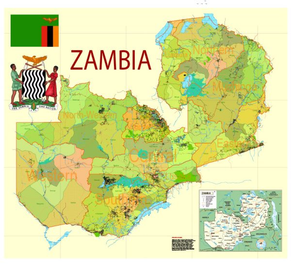 Printable Exact Detailed Map Zambia Admin, Roads, Cities, Towns, Railroads, Water objects Adobe Illustrator, 31 mb ZIP Map for publishing, design, printing