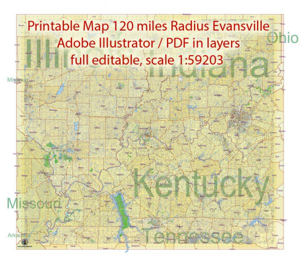 Printable Map area 120 miles radius of Evansville Indiana US, exact vector City Plan Map scale 1:59203 full editable, Adobe Illustrator