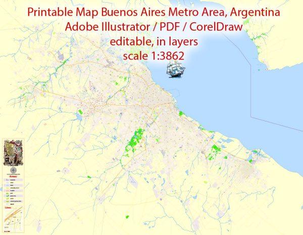 Printable VectorMap Buenos Aires Metropolitan Area, exact detailed City Plan, 100meters scale map 1:3862, editable Layered Adobe Illustrator