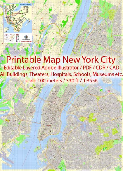 Printable Map New York City, US, exact detailed City Plan scale 100 meters 1:3556 ALL Buildings, full editable Vector, AutoCAD DXF,scalable, 67 mbZIP