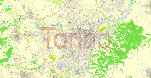 Printable VectorMap Turin / Torino Metro Area, Italy, exact detailed City Plan all Buildings, 100meters scale map 1:3318, editable Layered Adobe Illustrator, 26MbZIP