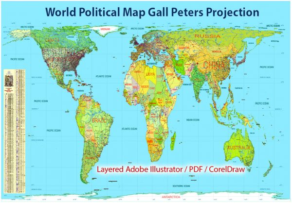 Printable World Political Map, in Gall-Peters Projection full editable, Adobe Illustrator, full vector, scalable, editable text format names, 37 mb ZIP