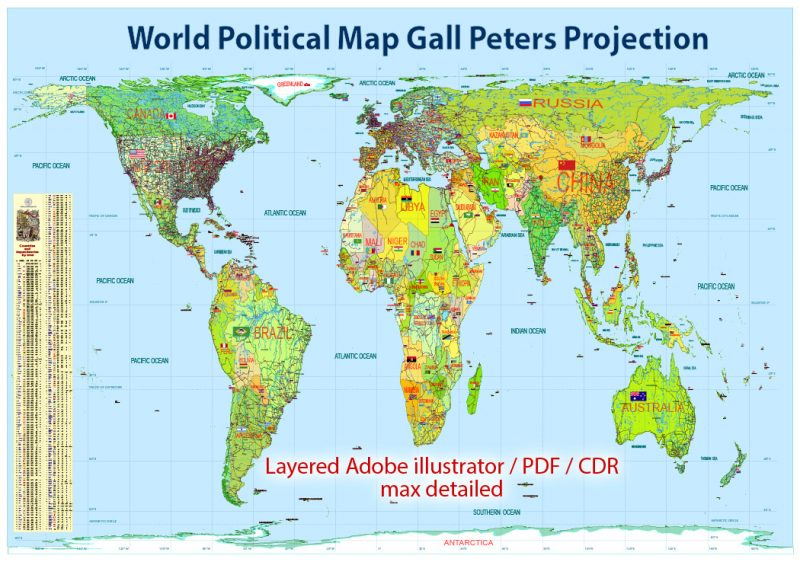 World Political Map extra detailed in Peters Projection full editable, Adobe Illustrator