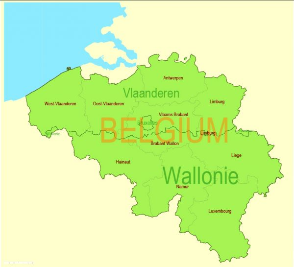 Printable Vector Map Belgium Admin, exact Mercator Projection, editable Layered Adobe Illustrator, 1 Mb ZIP. Exact boundaries Country, Provinces and Counties with names