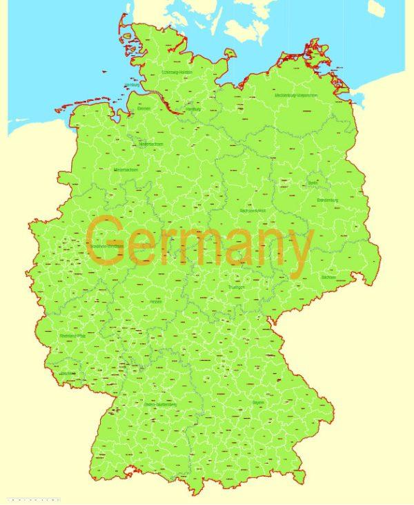 Printable VectorMap Germany Admin, exact Mercator Projection, editable Layered Adobe Illustrator, 8MbZIP