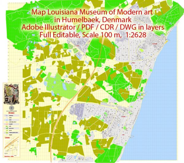 Printable Vector Map Louisiana Museum of Modern art in Humelbaek, Denmark, exact detailed City Plan, 100 meters scale map 1:2628, editable Layered DWG + DXF + PDF, 57 Mb ZIP