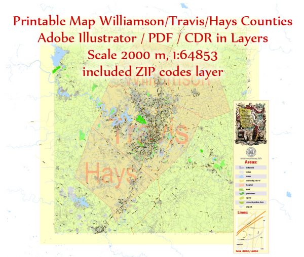 Editable Printable Map Williamson + Travis + Hays Counties + Austin, Texas US, exact detailed vector Map Scale 2000 meters, 1:64853, Adobe Illustrator