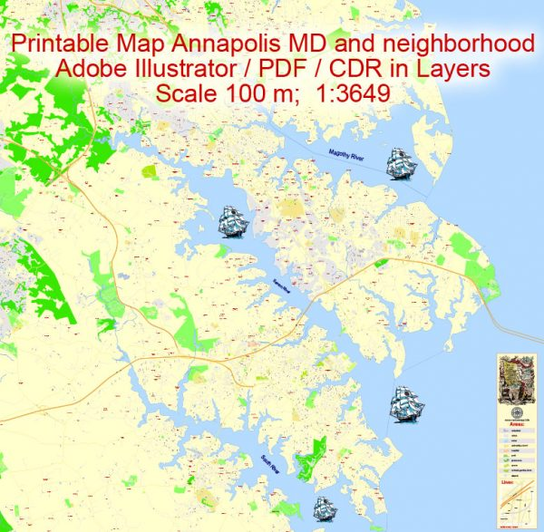 Printable Map Annapolis and Neighborhoods, Maryland US, exact vector City Plan scale 1:3649, full editable, Adobe Illustrator