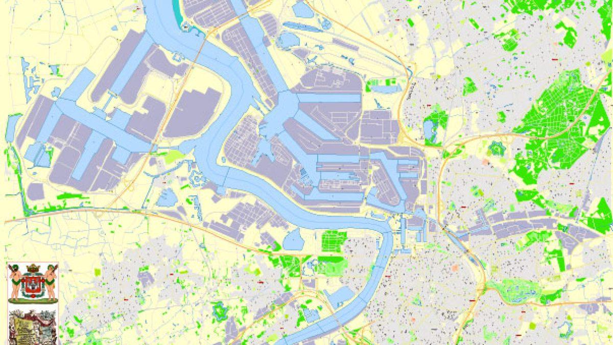 City Map Antwerp Vector Urban Plan Adobe Illustrator Editable Street Map