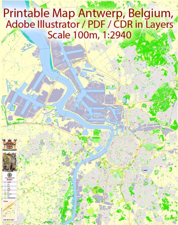 Printable Vector Map Antwerp Belgium, exact detailed City Plan, 100 meters scale map 1:2940, editable Layered Adobe Illustrator, 11 Mb ZIP