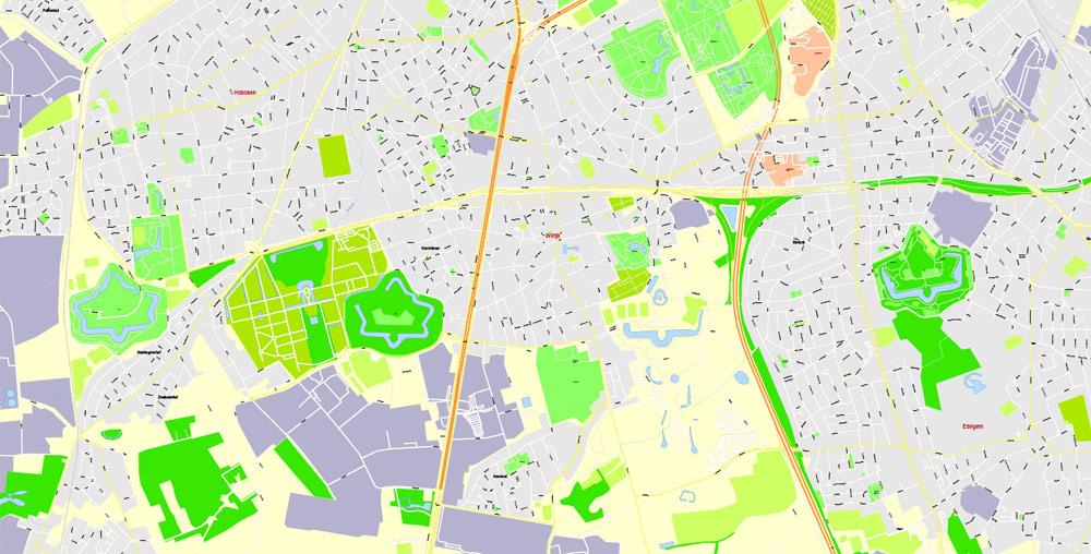 Street map Antwerpen Belgium ai