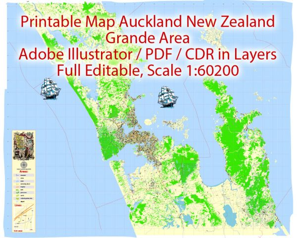 Map Auckland New Zealand Grande Area, exact vector City Plan  scale 1:60200  full editable Printable Adobe Illustrator