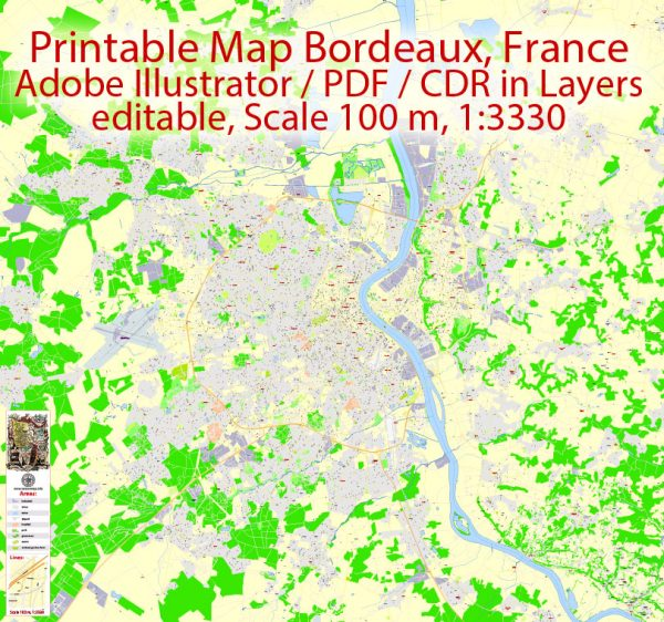 Printable VectorMap Bordeaux France Metro Area, exact detailed City Plan, 100meters scale map 1:3330, editable Layered Adobe Illustrator, 14MbZIP