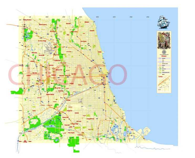 Chicago: Free Vector Map Chicago Illinois US, Adobe Illustrator and PDF in 1 archive