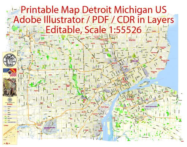 Printable Map Detroit Michigan US, exact vector City Plan  scale 1:55526  full editable, Adobe Illustrator, full vector, scalable, editable text format  street names, 11 mb ZIP