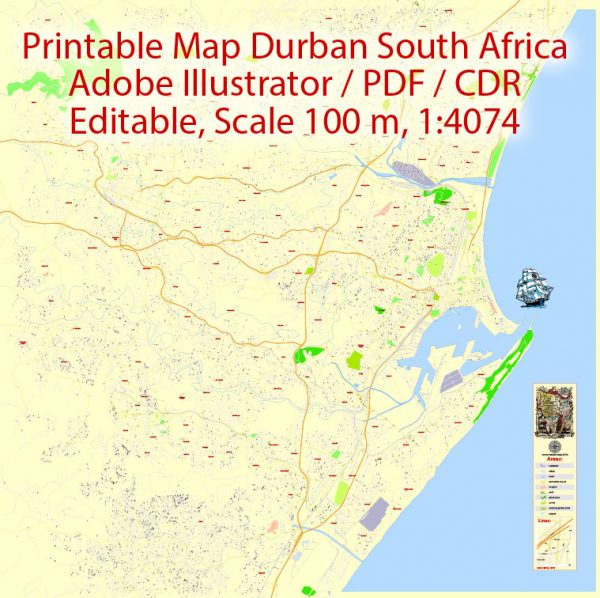 Printable Vector Map Durban South Africa, exact detailed City Plan, 100 meters scale map 1:4074, editable Layered Adobe Illustrator