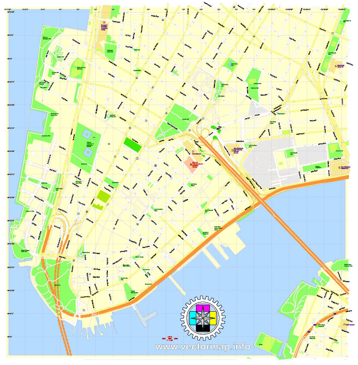 financial district of new york city printable pdf map in