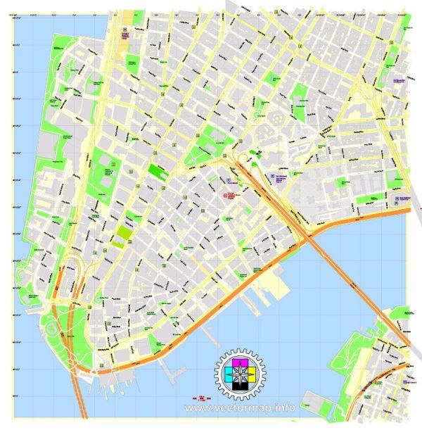 Printable Map Financial District of New York City extra detailedexact vector City Plan full editable, Adobe Illustrator