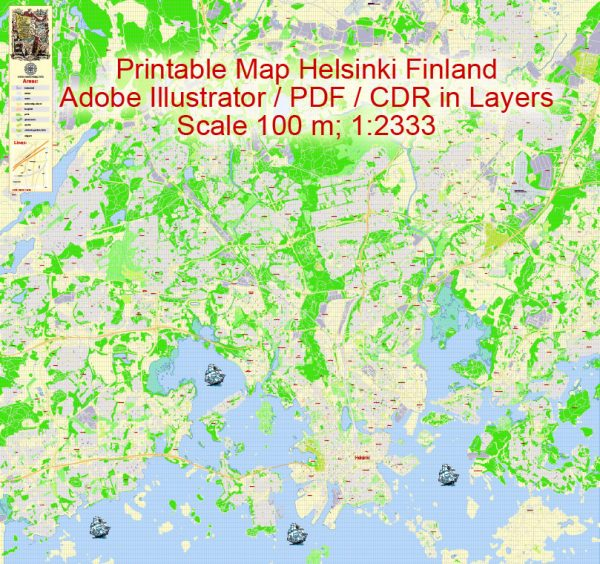 Printable Vector Map Helsinki Finland, exact detailed City Plan, 100 meters scale map 1:2333, editable Layered Adobe Illustrator, 19 Mb ZIP