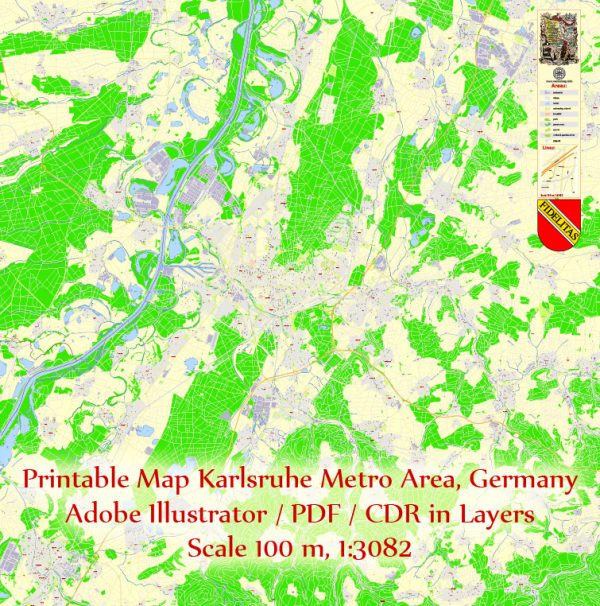 Printable Vector Map Karlsruhe Germany Metro Area, exact detailed City Plan, 100 meters scale map 1:3082, editable Layered Adobe Illustrator, 20 Mb ZIP