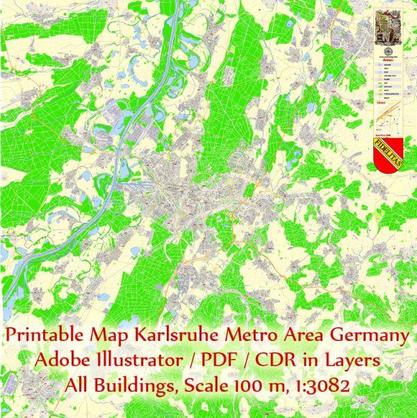 Druckbare Vektorkarte Karlsruhe Deutschland, exakter detaillierter Stadtplan alle Gebäude, 100 Meter Maßstab Karte 1: 3082, editierbarer Layered Adobe Illustrator