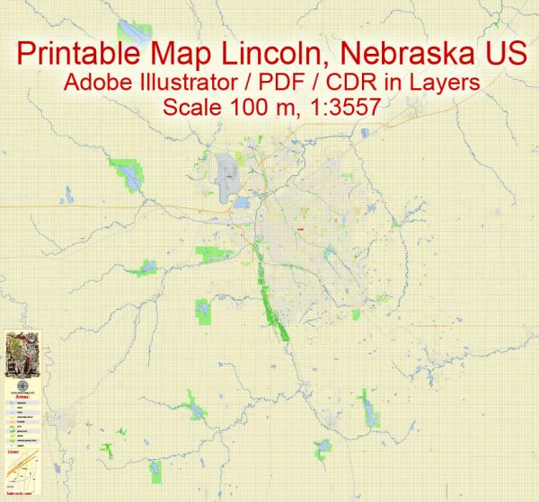 Printable Map Lincoln Nebraska US, exact vector City Plan scale 1:3557, full editable, Adobe Illustrator