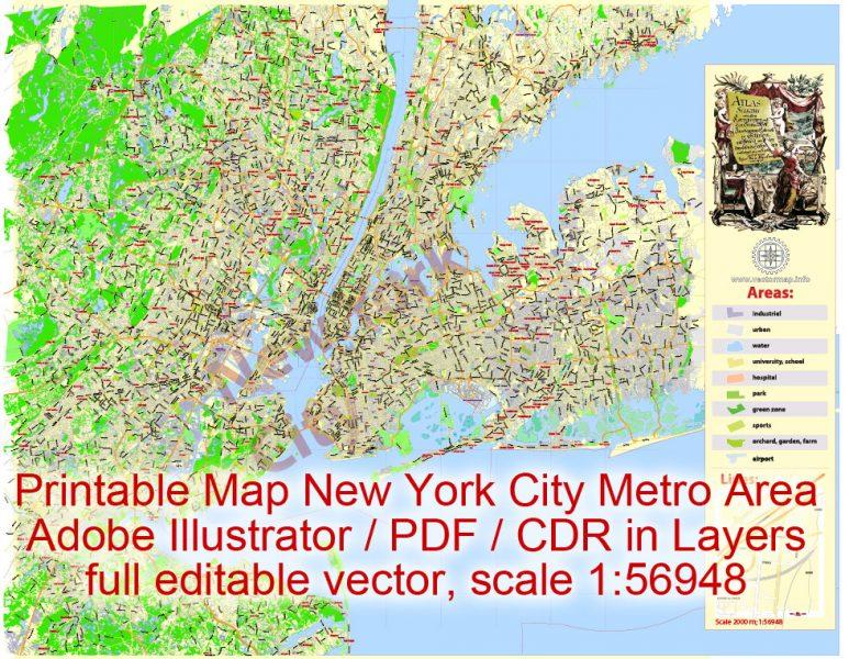 Printable Map New York City Metro Areaexact vector City Plan scale 1:56948, full editable, Adobe Illustrator,scalable, text format street names, 23 mbZIP