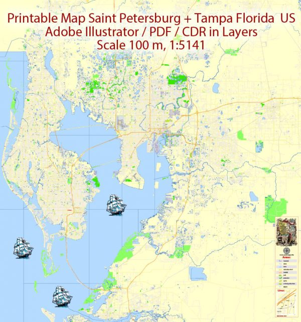 Printable Map Saint Petersburg & Tampa Metro Area, Florida US, exact vector City Plan scale 1:5141 editable, Adobe Illustrator, text all names, 29 mb ZIP