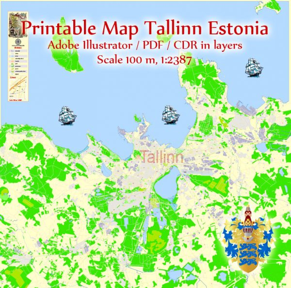 Printable Vector Map Tallinn Metro Area Estonia, exact detailed City Plan, 100 meters scale map 1:2387, editable Layered Adobe Illustrator, 12 Mb ZIP.