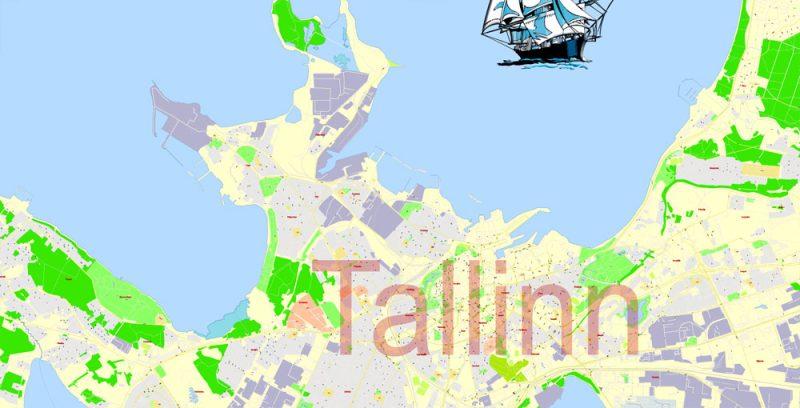 Printable VectorMap Tallinn Metro Area Estonia, exact detailed City Plan, 100meters scale map 1:2387, editable Layered Adobe Illustrator, 12MbZIP.