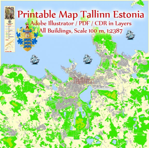 Printable VectorMap Tallinn Metro Area Estonia, exact detailed City Plan all Buildings, 100meters scale map 1:2387, editable Layered Adobe Illustrator, 18MbZIP.