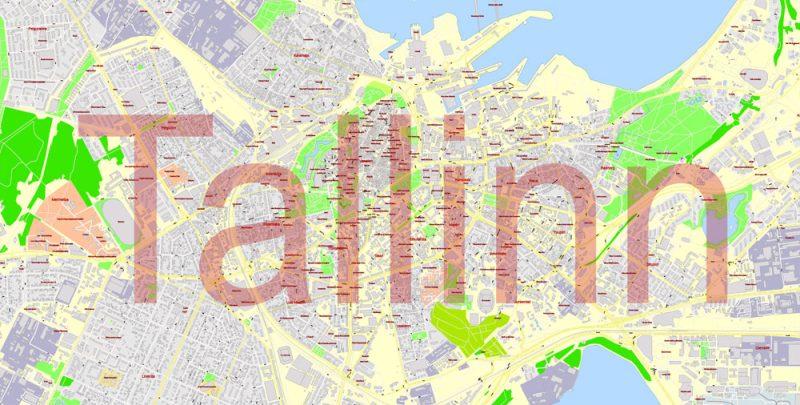 Printable VectorMap Tallinn Metro Area Estonia, exact detailed City Plan all Buildings, 100meters scale map 1:2387, editable Layered Adobe Illustrator